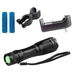 Φακοί LED Φορτιστές LED 4000 Lumens 5 Τρόπος Cree XM-L T6 18650 ΑΑΑ Ρυθμιζόμενη Εστίαση Ανθεκτικό στα Χτυπήματα Αντιολισθητική λαβή