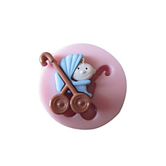 3D Baby Carrige Silicone Mold Fondant Molds Sugar Craft Tools Chocolate Mould  For Cakes