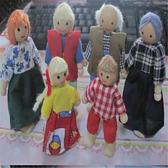 όμορφη κούκλα σπίτι μια οικογένεια έξι ξύλινη κούκλα κούκλα και κινητή άρθρωση σκηνή αλλάζει σχήμα