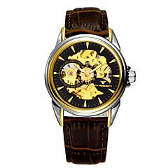 Masculino Relógio Elegante Automático - da corda automáticamente Impermeável PU Banda Relógio de Pulso Marrom