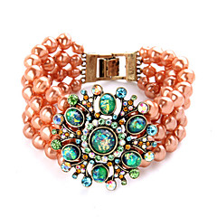 Vintage European Fashion Alloy Pearl  Luxurious Beaded Bracelet 1pc