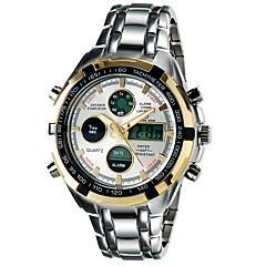 Herr Modeklocka Armbandsur Quartz LED Kalender Kronograf Vattenavvisande Dubbel tidszon alarm Självlysande Legering Band Häftig Silver