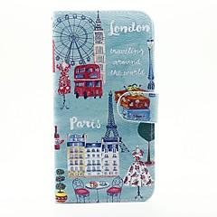 For iPhone 6 etui / iPhone 6 Plus etui / iPhone 5 etui Pung / Kortholder / Med stativ Etui Heldækkende Etui Bybillede Hårdt Kunstlæder