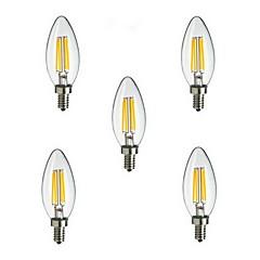 5pcs e14 4w 400LM 360 graus luz quente / frio branco edison filamento de lâmpada LED vela (85-265V)