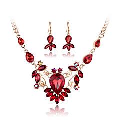 Feminino Conjunto de Jóias Colar / Brincos bijuterias Cristal Strass Vidro Rosa Folheado a Ouro Imitações de Diamante Liga Colares Brincos