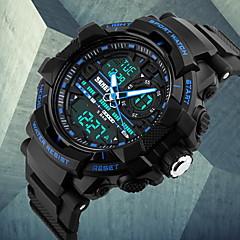 Herren Armbanduhr Japanischer Quartz LCD / Kalender / Chronograph / Wasserdicht / Duale Zeitzonen / Alarm Caucho Band Schwarz Marke