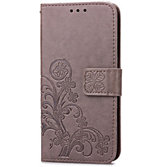 Varten Samsung Galaxy kotelo Korttikotelo / Lomapkko / Tuella / Flip / Koristeltu Etui Kokonaan peittävä Etui Kukka Tekonahka SamsungS5