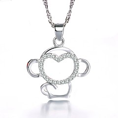 AAA Zircon Micro Insert Monkey Sterling Silver Necklace Pendant Necklaces Daily / Casual 1pcImitation Diamond Birthstone