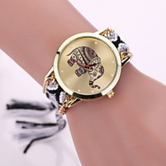 Women Fabric Weave Band Analog Quartz Elephant Case  Wrist Bracelet Watch Jewelry