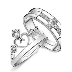 Dames Ringen voor stelletjes Verlovingsring Liefde Bruids Modieus Verstelbaar Kostuum juwelen Sterling zilver Strass Hartvorm Kruisvorm