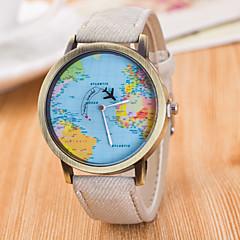 Męskie Damskie Uniseks Zegarek na nadgarstek / Kwarcowy Skóra Pasmo Postarzane Na co dzień Mapa Świata WzorzecCzarny Biały Niebieski