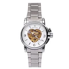 Heren / Dames / Uniseks Skeleton horloge Automatisch opwindmechanisme Hol Gegraveerd Legering Band Zilver Merk-