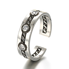 Unisex Vintage Pattern Punk Zircon Antique Sterling Silver Ring Band Rings Daily / Casual 1pc