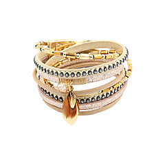 leather Charm BraceletsFashion Women 4 Rows Crysral Set Beaded Wrap Leather Bracelet