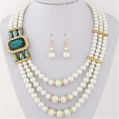 Women European Style Fashion Multilayer Imitation Gem Shiny Pearl Necklace Earring Set