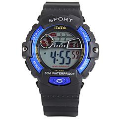 Infantil Relógio Esportivo Digital LED Calendário Cronógrafo Impermeável alarme Luminoso Cronômetro Noctilucente PU Banda PretaPreto