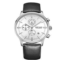 Herren Kleideruhr Quartz Kalender / Armbanduhren für den Alltag Leder Band Schwarz Marke