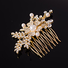 düğün bayan için gümüş / altın varak şeklinde kristal inci saç tarağı