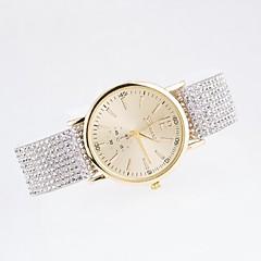 relógio ocasional de marcação elegante das senhoras com diamante genebra cordão lona cinta de relógio de quartzo