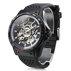 WINNER Masculino Relógio de Pulso relógio mecânico Automático - da corda automáticamente Gravação Oca Borracha Banda Preta Branco Preto