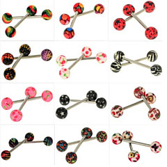 12PCS Stainless Steel Tongue Piercing Ring Body Jewelry Random Color