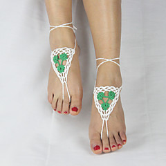 Women's Handmade Crochet Cotton Yoga Ankle Chain Anklet Color Flowers Barefoot Sandals