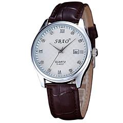 Fashion Quartz Casual Diamante Calendar Round Dial Couple's Wrist Watches