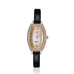 jewelora Dames Modieus horloge Kwarts Stootvast Leer Band Vintage Zwart Zwart