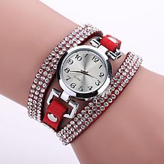 kvinners bohemsk stil krystall lærrem hvit sak analog kvarts armbånd mote ur