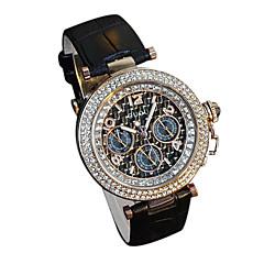Damen Modeuhr Simultan? Diamant Uhr Armbanduhren für den Alltag Quartz Japanischer Quartz Leder Band Luxuriös Schwarz Weiß Rot