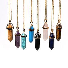 Beadia 1Pc Fashion 45cm Gold Chain Unsex's Stone Pendant Necklace (0.8X4.1cm Pendant)