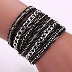 Dames Wikkelarmbanden Lederen armbanden Modieus Bohemia Style Aanbiddelijk Leder Legering Geometrische vorm Zwart Koffie Bruin Sieraden