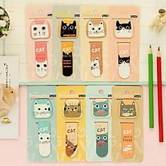 mini magnetico segnalibro fumetto gatto per gli studenti (colori casuali)