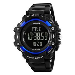 SKMEI Męskie Sportowy Cyfrowe LED Kalendarz Chronograf Wodoszczelny alarm Pulsometr Świecący Krokomierz Stoper Srebrzysty PU Pasmo