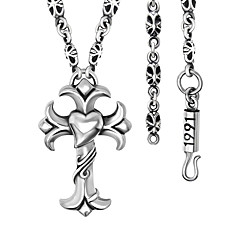 Heart-Shaped Titanium Steel Cross Necklace Of Carve Patterns Or Designs On Woodwork