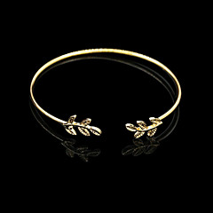 Leaf Gold/Silver Cuff Bangle Bracelet Jewelry Set (6*7cm)