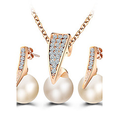 Jewelry Set Stud Earrings Pendant Necklaces Pearl Imitation Diamond Basic Fashion European ElegantPearl Imitation Pearl Rhinestone Rose