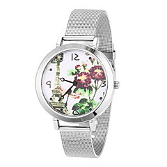 Women's Cool Steel Leather Band White FLower Case Analog Quartz Fashion Watch(-Not Water Resistant)