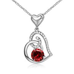 Naisten Pariskuntien Riipus-kaulakorut Kristalli Heart Shape Kristalli Cubic Zirkonia MetalliseosLove Heart Muoti Ihana Birthstones