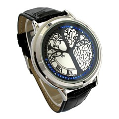 Herren Armbanduhr digital LED / Touchscreen Leder Band Schwarz Marke-