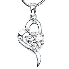 Women's 925 Silver Sweet Heart Diamond Pendant Necklace