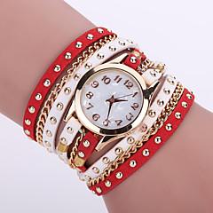 Women's Bohemian Style Rivet Leather Band White Case Analog Quartz Layered Bracelet Fashion Watch