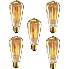 5pcs ST64 E27 40W Incandescent Vintage Edison Light Bulb For Restaurant Club Coffee Bars Light(220-240V)