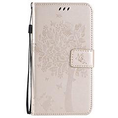 For Samsung Galaxy etui Kortholder Pung Med stativ Flip Præget Etui Heldækkende Etui Træ Blødt Kunstlæder for SamsungXcover 3 J7 (2016)