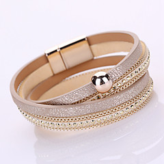 Women's Chain Bracelet Wrap Bracelet Fashion Handmade Multi Layer Leather Rhinestone Imitation Diamond Alloy GeometricBlack Gray Blushing