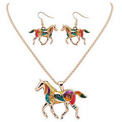 Horse Necklace Earring Jewelry Set