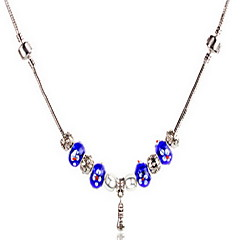 Blue DIY Beads Strand Necklace with Flower Print Antique Silver Fine Jewelry