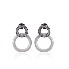 Earring Circle Jewelry Women Fashion Wedding / Party / Daily / Casual Silver / Sterling Silver / Ceramic 1 pair Black / White