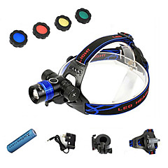 Led Headlamp/Front Bike Light-3 Mode 1200 Lumens Adjustable Focus/4 Color Led Beam/Rechargeable/for Hunting Fishing