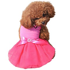 Cat Dog Dress Dog Clothes Summer Spring/Fall Bowknot Crystal/Rhinestone Color Block Cute Birthday Black Yellow Rose Green Blue